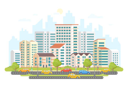 Busy street life - modern colorful flat vector illustration on white background. Illustration