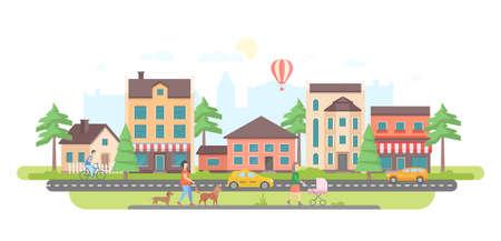 Vida urbana - ilustração em vetor design moderno estilo liso no fundo branco. Complexo de habitação encantadora com pequenos edifícios, árvores, zona pedonal com pessoas andando, carro e táxi na estrada