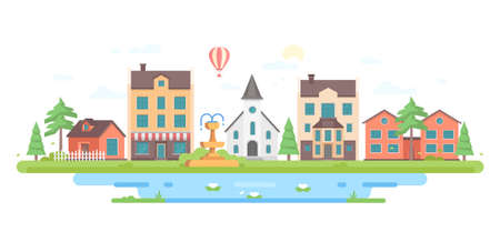 Cityscape with a fountain - modern flat design style vector illustration Illustration