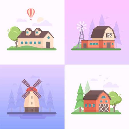 Country landscape - set of modern flat design style vector illustrations on purple background.