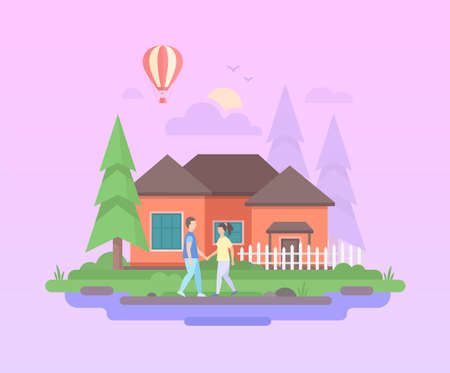 Comfortable house - modern flat design style vector illustration on purple background. A composition with couple holding hands before a small low-storey building, trees, hot air balloon, clouds, sun Ilustração