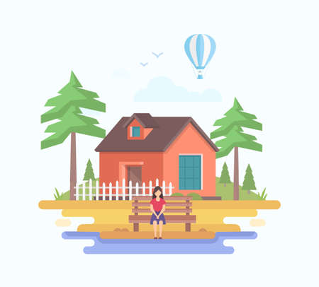 House in the village - modern flat design style vector illustration