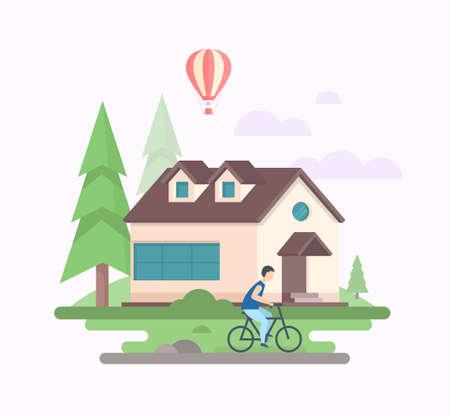 家と風景 - モダンフラットデザインスタイルベクトルイラスト  イラスト・ベクター素材