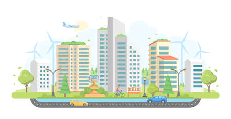 Paesaggio urbano con mulini a vento - illustrazione di vettore di stile moderno design piatto su priorità bassa bianca. Archivio Fotografico - 94464135