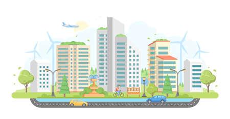 Cityscape with windmills - modern flat design style vector illustration on white background. Illustration