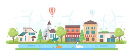 Arquitectura da cidade Eco-amigável - ilustração lisa moderna do vetor do estilo do projeto no fundo branco. Composição com pequenos edifícios, árvores, igreja, uma lagoa, painéis solares, cafés, moinhos de vento, um balão no céu Foto de archivo - 94465483
