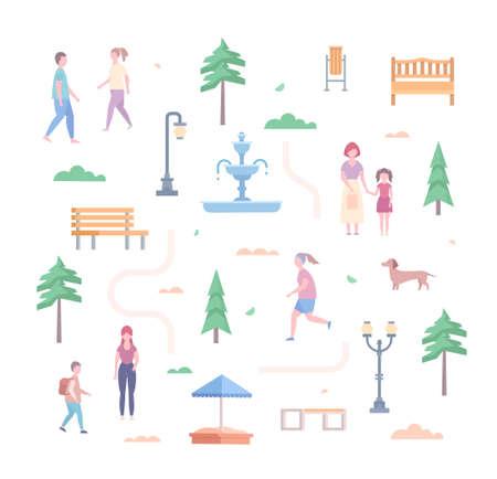 City park elements - set of modern flat design style objects isolated on white background. Trees, lanterns, benches, bin, sandbox, road, bush, fountain, people running and walking, dog Illusztráció