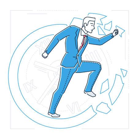Time management - line design style isolated illustration Illustration