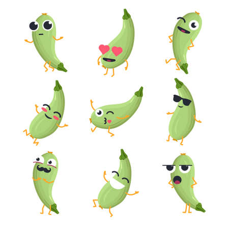 Funny zucchini - vector isolated cartoon emoticons