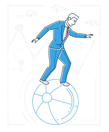 Businessman with balancing on a ball - line design style isolated illustration on white background. Metaphorical image of a person dealing with problems. Multitasking concept