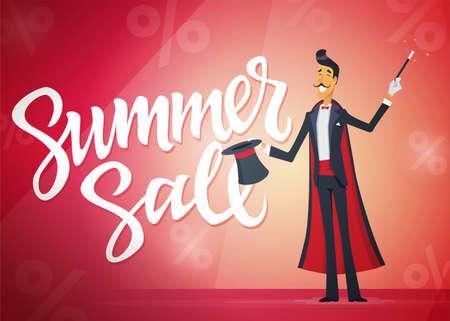 여름 판매 - 달필 텍스트 만화 사람들이 문자 일러스트