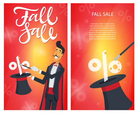 Fall sale - set of modern vector illustrations with calligraphy text and place for your information on red background. An image of a magician doing a hat trick. Discount, shopping concept Иллюстрация