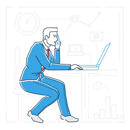 Businessman at the computer - line design style isolated illustration on white background. Metaphorical image of person having a lot to do, speaking on the phone. Multitasking, time management concept Stock Photo