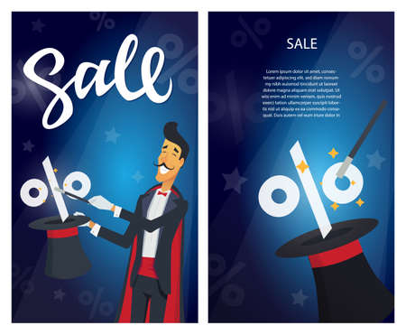 Sale - set of modern vector illustrations with calligraphy text Illustration