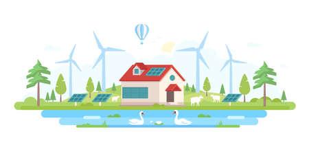 Eco-friendly farm in modern flat design style vector illustration. Illustration