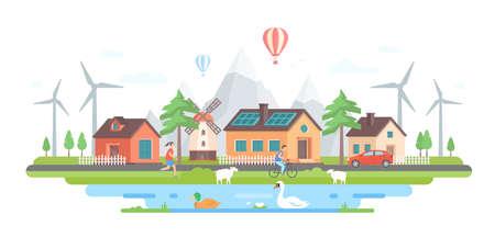 Eco-vriendelijk dorp in moderne platte ontwerp stijl vectorillustratie.