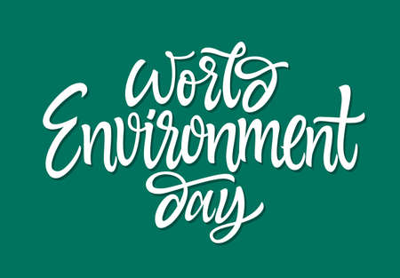 World Environment day in vector hand drawn brush pen lettering.