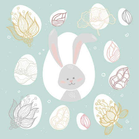Easter bunny - modern vector colorful celebration poster