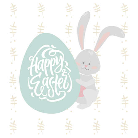 Easter bunny - modern vector colorful celebration poster with calligraphy text
