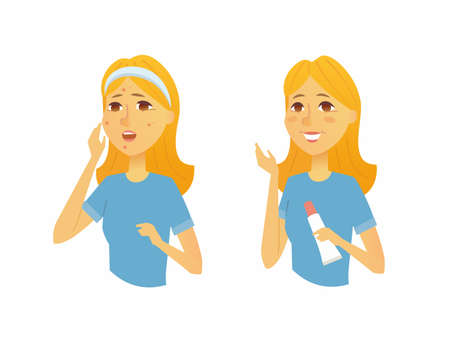 Woman before and after skin treatment - cartoon people characters illustration