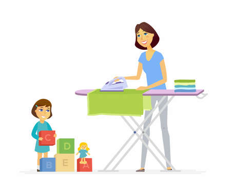 Young woman irons clothes - cartoon people characters isolated illustration.