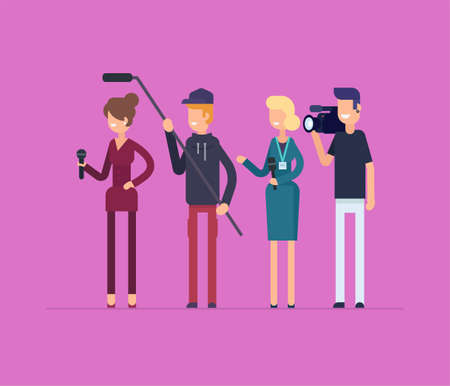Television crew at work - modern flat design style isolated illustration.