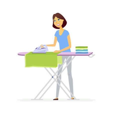 Young woman ironing clothes - cartoon people characters isolated illustration on white background. An image of a cute cheerful housewife doing household chores at the board, putting clothes in a pile.