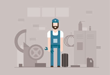 Motor mechanic at work - modern flat design style illustration on grey background. Illustration