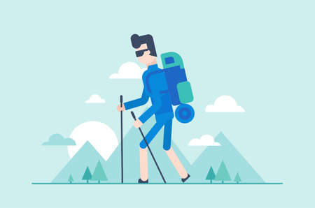 Nordic walking tour - modern flat design style illustration. Young tourist with poles, backpack with a sleeping pad hiking. Silhouettes of mountains, hills on the background, sun, clouds in the sky.