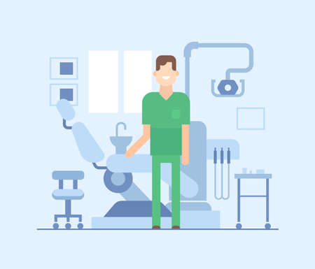 Dentist at work - modern flat design style illustration. Smiling cheerful cartoon character in a dental room with a chair, equipment, appliances. Worker in a medical overall. 向量圖像