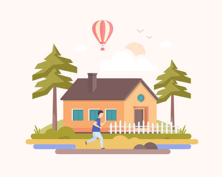 Country landscape - modern flat design style vector illustration on light pink background. A composition with a boy running before a small low-storey building, trees, hot air balloon, clouds, sun. Ilustração