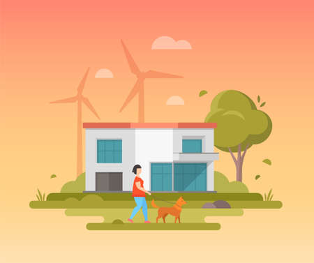 Landscape with windmills - modern flat design style vector illustration on orange background. A composition with a boy walking the dog, a small low- storey building, tree, clouds in the sky.