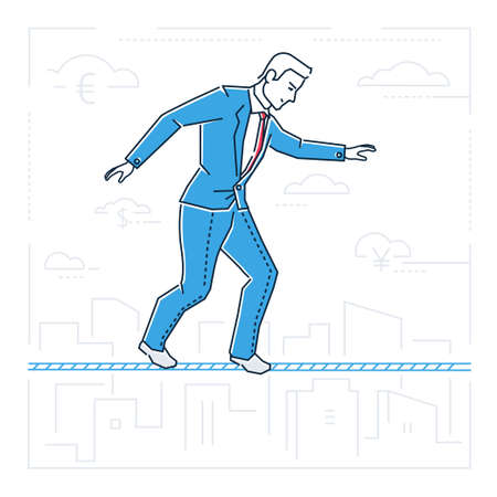 Businessman walking on a cable - line design style isolated illustration on white background. Metaphorical image of a confident person, ropewalker. Concept of hard work, danger, attention.