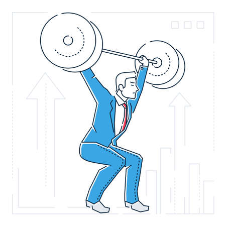 Businessman lifting a heavy bar - line design style isolated illustration on white background.