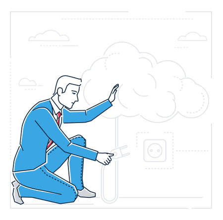 Businessman searching for ideas - line design style isolated illustration on white background.