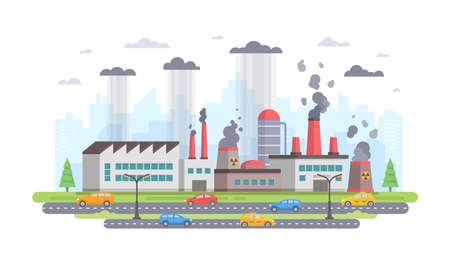 Air pollution - modern flat design style vector illustration.