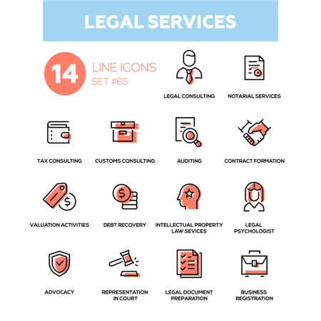 法的サービス - ラインデザインアイコンセットイラスト。