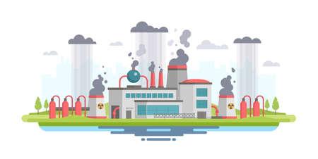 Urban landscape with plant - modern flat design style vector illustration Banque d'images - 95354906