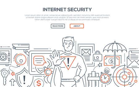 Internet security - modern line design style illustration.