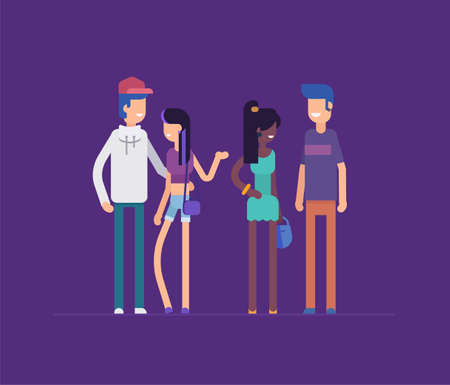 Group of friends standing together - modern flat design style isolated illustration. Imagens - 95507842