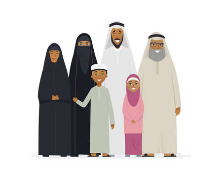 Big Muslim family - cartoon people characters isolated illustration
