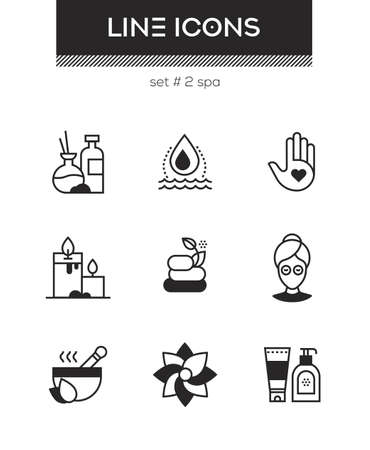 Beauty spa - set of line design style icons