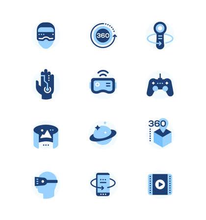 Virtual reality - set of flat design style icons