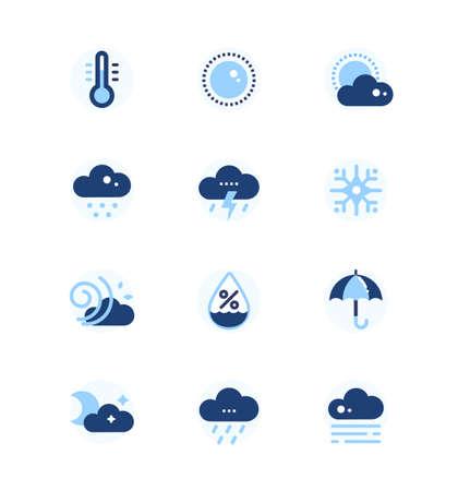 Weather types symbols - set of flat design style icons Illustration