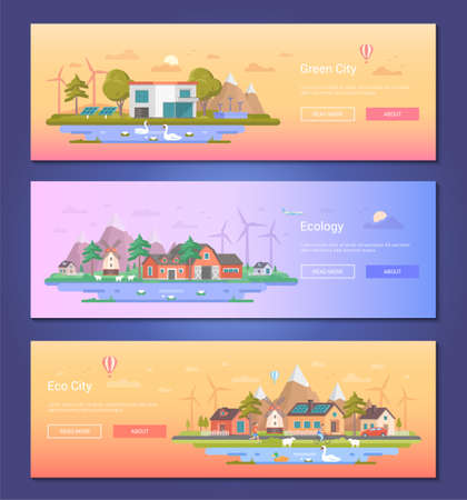 Eco city - set of modern flat design style vector illustrations