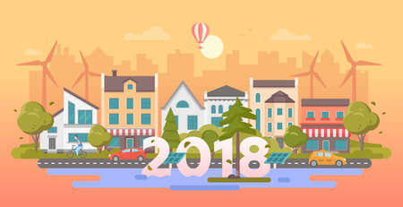 Eco city 2018 - modern flat design style vector illustration