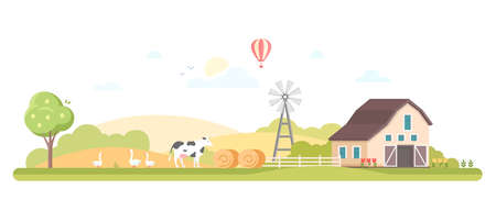 Rural landscape - modern flat design style vector illustration
