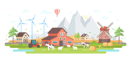 Farm by the mountains - modern flat design style vector illustration Archivio Fotografico - 95638219