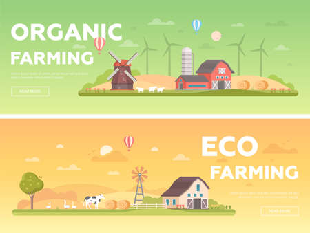 Organic farming - set of modern flat design style vector illustrations Çizim