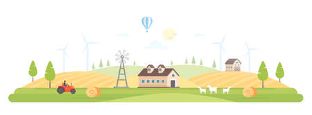 Eco village - modern flat design style vector illustration
